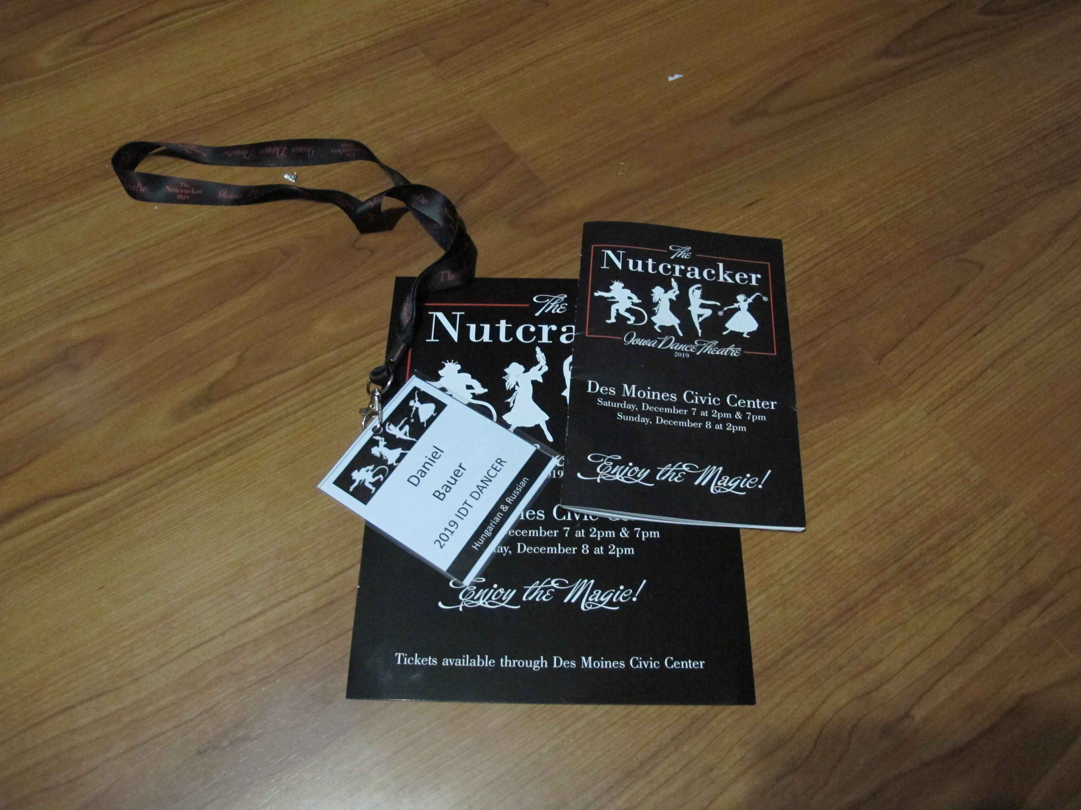 Dancer badge and nutcracker poster